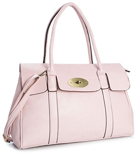 Big Handbag Shop Womens Vegan Leather Designer Boutique Turnlock Top Handle Shoulder Bag (Baby Pink) (Boutique Designer Leather)