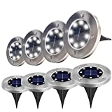 Jiff's Life Solar Ground Lights Outdoor, Stainless Steel Garden Pathway Lights Outdoor Waterproof With 8 LED for Driveway, Deck, Garden, Landscape Lighting (Bright white-8 Pack)