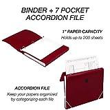 Samsill Duo 2-in-1 Organizer / 1 Inch 3 Ring Binder & File Organizer Combination/School Supplies/Paper Organizer/Burgundy/Updated Version