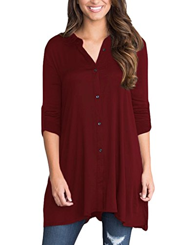 Sisiyer Women's Cuffed 3/4 Sleeve Button Down Shirt Blouse Tunic Tops Burgundy XX-Large (Top Silk 3/4 Sleeve)