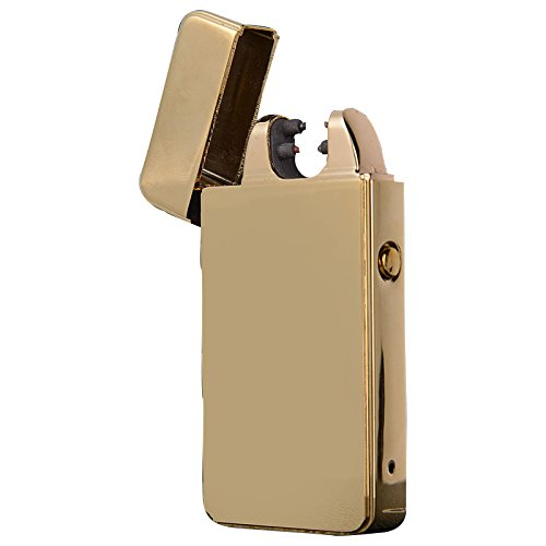 Anyea Pure Colour Double Arc Cigarette Lighter USB Electronic Pulse Flameless Windproof Lighter (Gold)