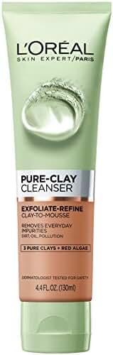 L'Oreal Paris Skin Care Pure Clay Cleanser, Exfoliate & Refine, 4.4 Fluid O