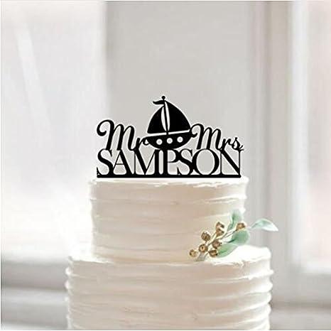 Amazon.com: Pastel de Boda Topper Acrílico Nautical Señor y ...