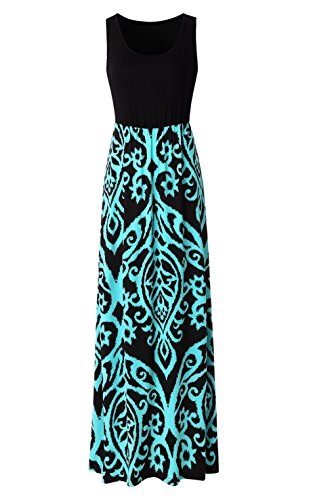 Zattcas Womens Summer Contrast Sleeveless Tank Top Floral Print Maxi Dress Black Aqua ()