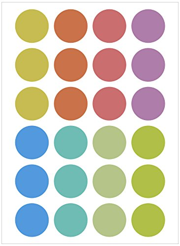 Assorted Pastel Colors Round Labels Dot Stickers Kit DIY (24mm, 10 - Pastel Assorted Colours