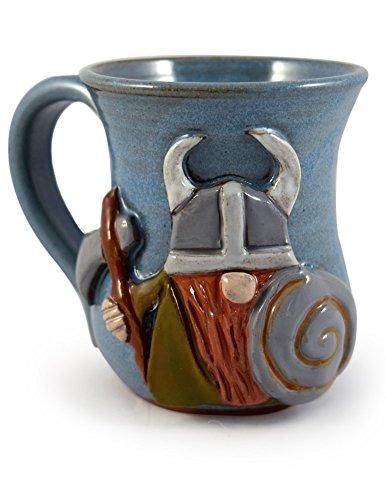 American Made Stoneware Pottery Sculpted Viking Coffee Mug