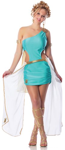 Playboy Goddess Costume, Turquoise, Medium - Aphrodite Mini Dress