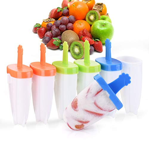 【2019 New Version】Ice Pop Molds Set, IKICH Ice Popsicle Molds BPA Free & FDA Certified, 6 Easy-release Reusable Ice Pop Maker Mold With Sticks Drip-Guard Handle for Kids Adults DIY Ice Cream Molds