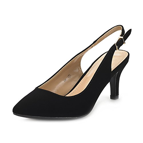 DREAM PAIRS Women's LOP Black Nubuck Low Heel Pump Shoes - 11 M US