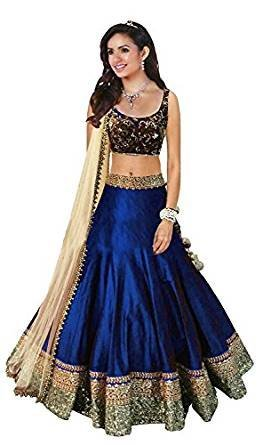 c2a3a458c98 Image Unavailable. Image not available for. Colour  Vastra Fashion Women s  Banglory Silk Embroidered Semi-Stitched Blue Color Lehenga Choli