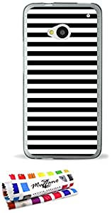 Carcasa Flexible Ultra-Slim HTC ONE de exclusivo motivo [Marinero Negro] [Gris] de MUZZANO  + ESTILETE y PAÑO MUZZANO REGALADOS - La Protección Antigolpes ULTIMA, ELEGANTE Y DURADERA para su HTC ONE