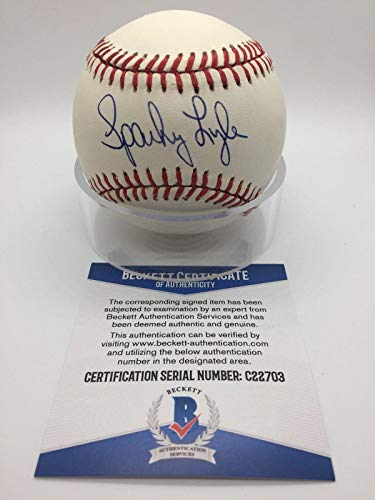 Sparky Lyle Signed Baseball - OMLB Official AL Brown BAS BECKETT C22703 - Beckett Authentication - Autographed Baseballs