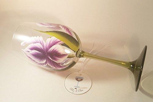Hand Painted Iris Wine Glass