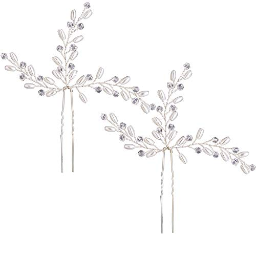 (Stylebar Bridal Hair Pins (2Pcs) Handmade Head Piece Bendable Clear Bead Cream Simulatd Pearl Leaf Vine Filigree Wedding Hair Comb Pin Set Pack of 2 Accessories for Brides and Bridesmiads Women Girls)