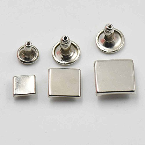 100 Pcs Metal Flat Square Rapid Rivets Studs Snaps Leather Craft for Handbag Bag Shoes Clothes (1/4