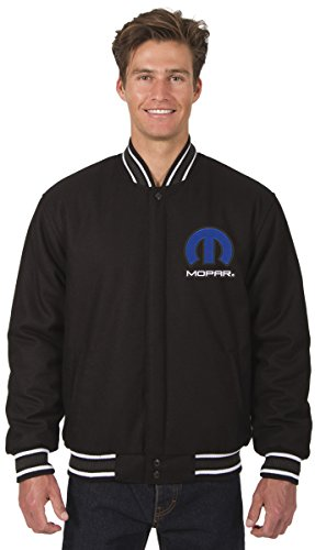 JH DESIGN GROUP Mens Mopar Logo All Wool Reversible Jacket With Embroidered Emblems (2X, Black) by JH DESIGN GROUP