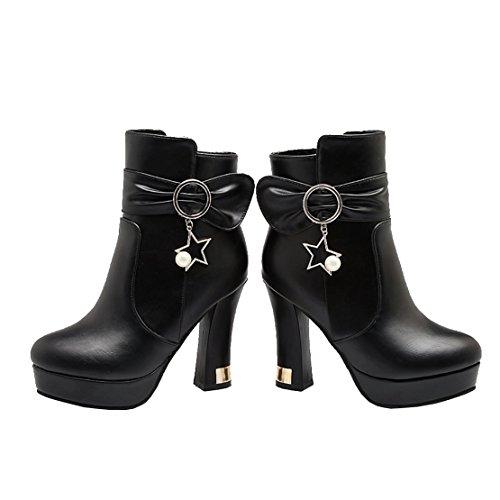 AIYOUMEI Damen Blockabsatz High Heels Stiefeletten mit Schleife und Reißverschluss Einfarbig Klassischer Stiefel Schwarz