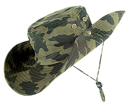 kolumb Unisex Military Boonie Hat- Premium Soft Cotton & Polyester Fabric, Sturdy Stitching Wide Brimmed Mens & Womens Boonie Hat- Top Camo Bucket Hat in Attractive Colors for Sports Fishing Beach ...