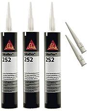 Sikaflex-252 hechtsterke constructielijm, 300 ml, wit, 3 set met 5 spuitpunten