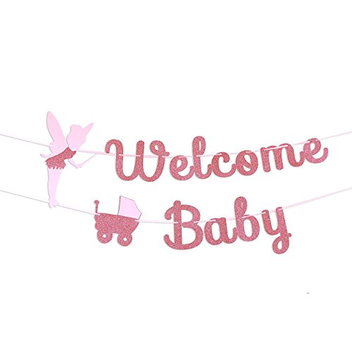 TMYSP Welcome Baby Pink Angel baby car Flag Bunting Baby Shower Banner garland Glitter Pink Party Decorations Gender Reveal Boy Girl Party Kid Happy Birthday Party Suppliers