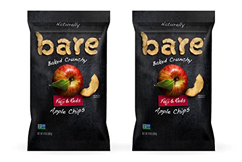Fuji Apple Rings - Bare Baked Crunchy Apple Chips, Fuji & Reds, Gluten Free, 14 Ounce Bag, Pack of 2