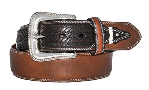 Silver Canyon Men's Leather Basket Weave Knotted Billets, Studs Brown Belt, 36