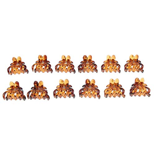 12x Women Mini Hair Claw Clips Plastic Mini Hairpin Clamps Hair Accessories (Color - Brown) (Claw Clip Watch)