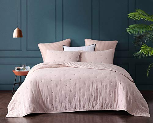 (Bourina Reversible Quilt Coverlet Set Queen - Pre-Washed Microfiber Ultra Soft Lightweight Star Quilted Bedspread 3-Piece Quilt Set, Flesh Pink)