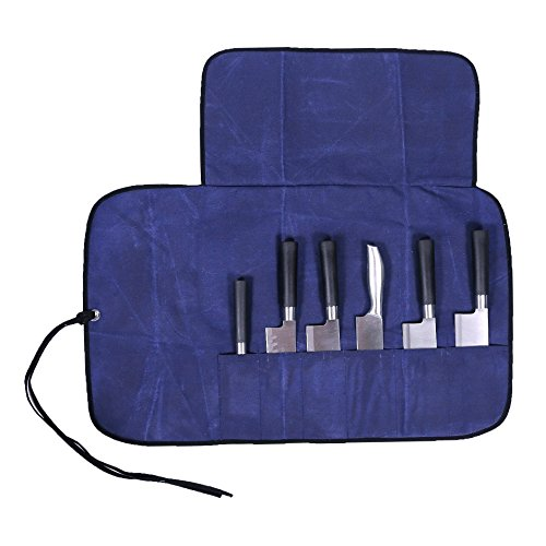 Canvas Knife Roll Bag for Enthusiasts, Blue Portable Chef's Roll Bag, 6 Slots Chef Wrap for Culinary Student or Professional Chef, Men or Women DD05 by QEES
