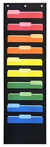 Storage Pocket Chart, Hanging Wall File Organizer by Essex Wares - Organize Your Assignments, Files, Scrapbook Papers & More (Black)