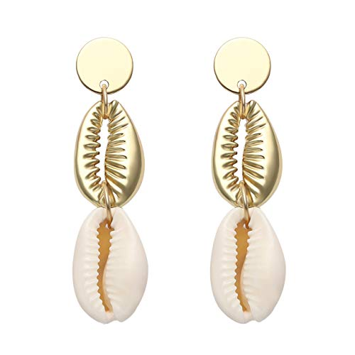 - Shell Earring for Women Irregular Matte Gold Hoop Drop Dangle Earring with Gold-Rimmed Shell Charm Round Metal Disc Stud Statement Earring (Cowrie Charm)