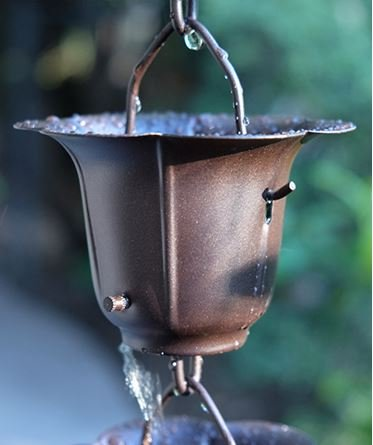 BRONZE IRON FLOWER CUP RAIN CHAIN WITH INSTALLATION KIT (12 Feet) by Rainchains, Inc.