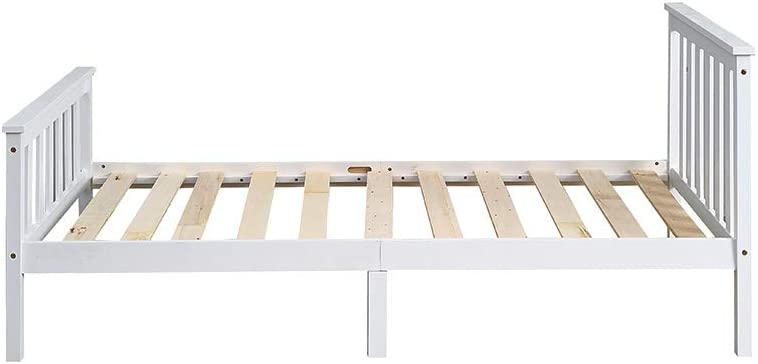 190 cm Mattress Panana Single Bed 3ft Bed Frame White Solid Wood Bedroom Furniture For Children or Adults Fit 90