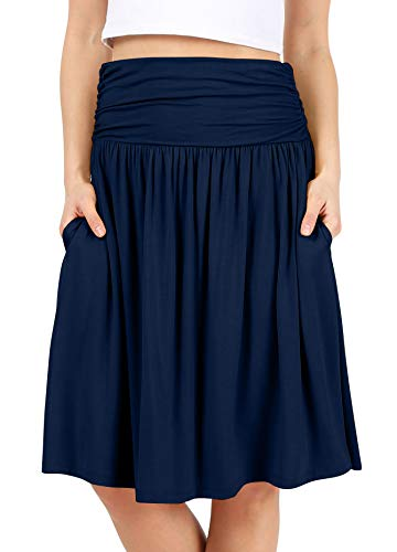 (Navy Skirts for Women Knee Length Navy a Line Skirt Skirt with Side Pockets High Waisted Flowy Skirt Womens Skirts Navy Blue Skirt (Size 2X (US 14-16), Navy) )