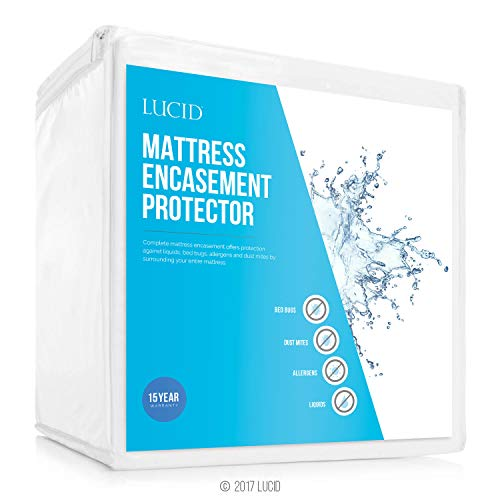 LUCID Encasement Mattress Protector - Completely Surrounds Mattress for Waterproof, Allergen Proof, Bed Bug Proof Protection -15 Year Warranty - King Size