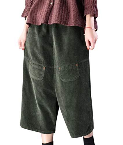 YESNO PN4 Women Casual Loose Cropped Corduroy Pants Wide Leg Low Crotch Pockets