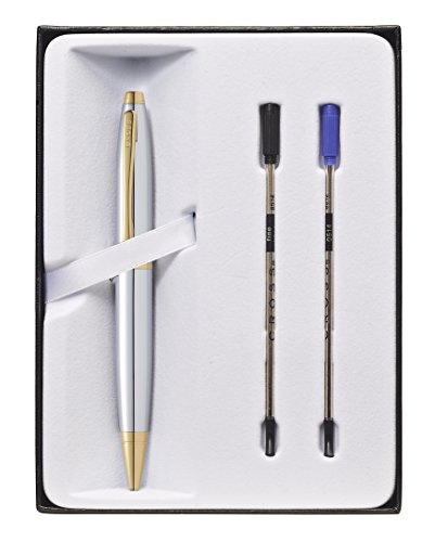 (Cross Calais Chrome and Gold Electroplate Ballpoint Pen & 2 Refills in Gift Box (AT0112G-15))