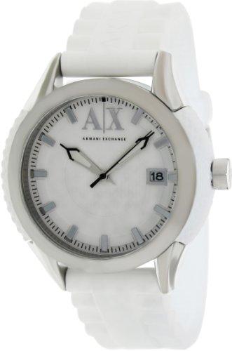 Armani Exchange White Dial White Rubber Strap Unisex Watch AX1229