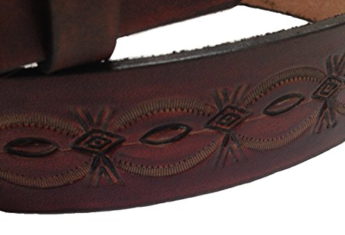 Handmade Mens Leather Belt Brown Crowsfoot Design Western Work Casual Belt 1.5