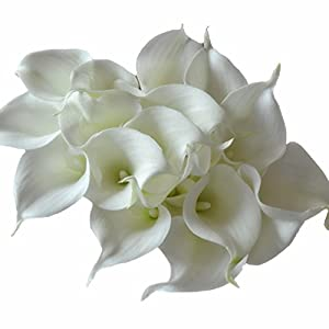 DES Calla Lily Bridal Wedding Bouquet Latex Real Touch Artificial Flower Bouquets Home Decor Pack of 18 Ivory 73