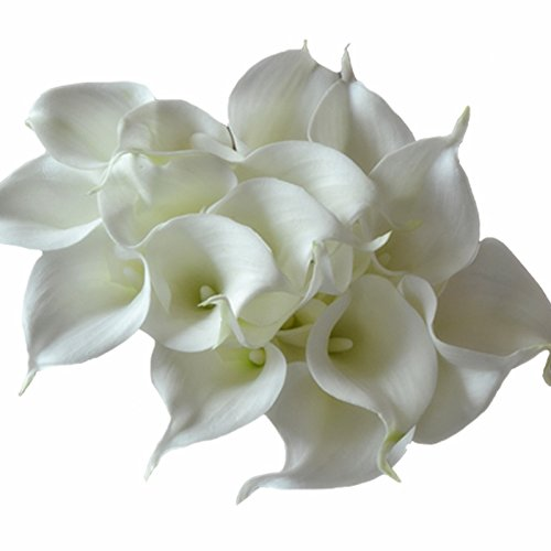 DES Calla Lily Bridal Wedding Bouquet Latex Real Touch Artificial Flower Bouquets Home Decor Pack of 18 Ivory