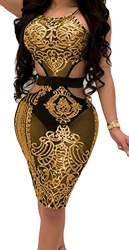 Sparkle Cromoncent Sleeveless Bodycon Halter Sequin Women Sexy Yellow Dress Club Midi wrZxrqXgP