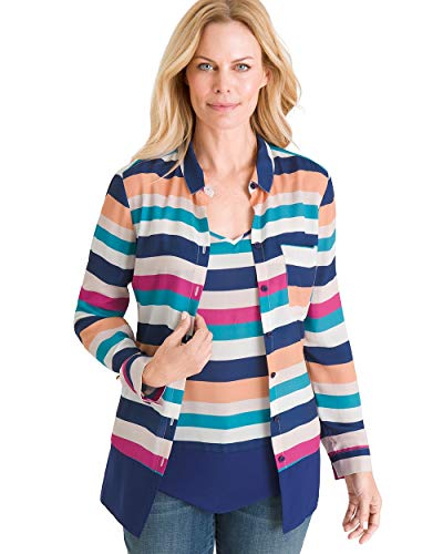 Chico's Women's Multi-Colored Striped Twinset Size 4/6 S (0) Stripe