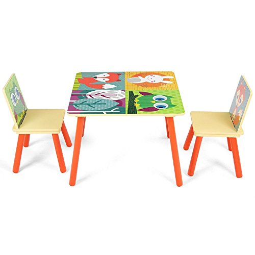 COSTWAY Kids Table and 2 Chairs Set Desk w/Cartoon Pattern by COSTWAY
