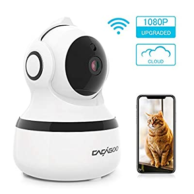CACAGOO Security Camera, Wireless IP Camera 1080P 2.4G Wifi Indoor Home Dome Camera with IR Night Vision/ Two-Way Audio, Cloud Storage by CACAGOO