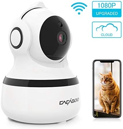 CACAGOO Video Baby Monitor, Security Wifi Camera 1080P Wireless IP Camera Indoor Home Dome Camera with IR Night Vision Two-Way Audio, Cloud Storage