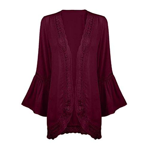Manga Rojo Qinmm Mujer Camisa Fiesta Boda Vino Blusa De Kimono Encaje Rebeca Y Otoño Larga Chaqueta Con Gasa Tops 8r7Uq8