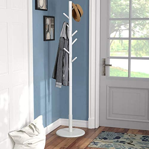 Vlush Wooden Coat Rack Free Standing, Coat Hat Tree Coat Hanger Holder Stand with Round Base for Clothes,Scarves,Handbags,Umbrella- 8 Hooks, Ivory White