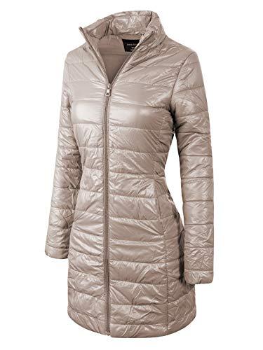 Instar Mode Women's Casual Warm Quilted Long Puffer Down Jacket Coat Khaki L