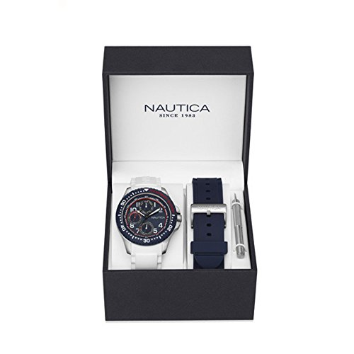 Nautica Men's 'NSR 200' Quartz Stainless Steel and Silicone Casual Watch, Color:Blue (Model: NAD14533G)